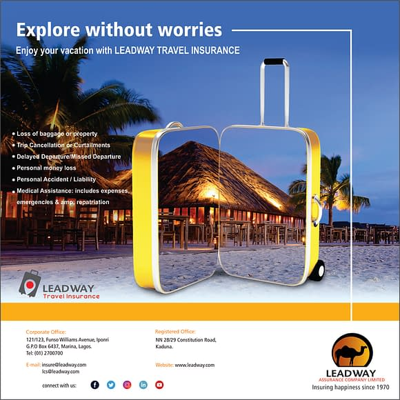 Advertisement for Leadway Travel Insurance