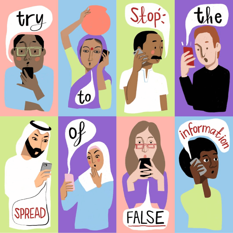 Illustration about spreading false information